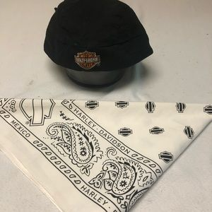 Harley Davidson BKcotton skull cap and WH Bandana